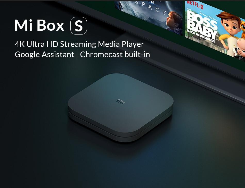Original Globale Xiao mi mi TV Box S 4 K HDR Android TV 8,1 Ultra HD 2G 8G WIFI Google Cast Netflix IPTV Set top Box 4 Media Player
