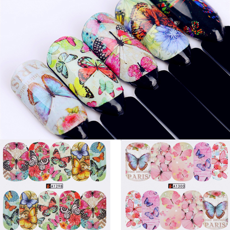 1 Big Sheet 12 Patterns Big Sheet Water Decal Butterfly Manicure Nail Art Transfer Sticker 10 Colors Available 12 patterns big sheet water decal butterfly manicure nail art transfer sticker a1297 a1308