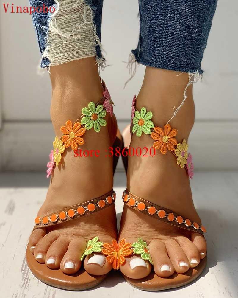 Frauen Mode Flache Strass Blume Casual Gladiator Sandalen zapatos mujer Strand Schuhe alias mujer 2019 chaussures femme