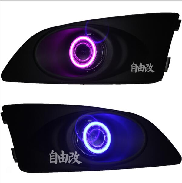 DRL COB angel eye (6 colors) + halo fog lamp + E13 projector lens + black fog lamp cover for chevrolet sonic aveo, 2pcs