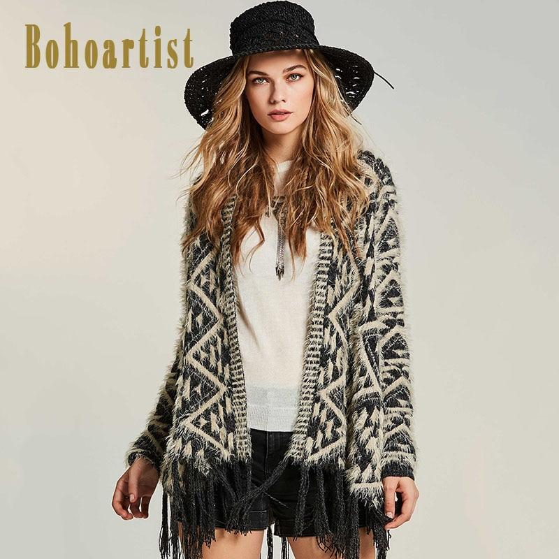 Bohoartist Women Knitwear Cape 2017 Autumn Geomertic Patchwork Cardigan Bohemia Fashion Clothing Tassel New Elegant Slim Capes