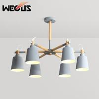 Nordic contemporary pendant lights burrel macaroon rubber wood lamps for hall bedroom study parlor restaurant livingroom