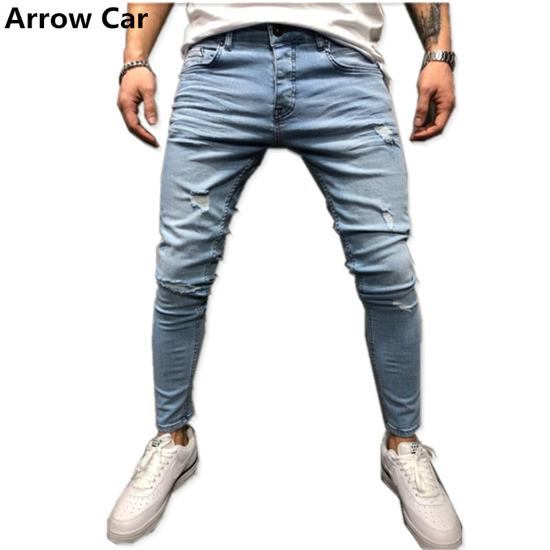 Arrow Car Printed Jeans Men 2018 New Fashion Embroidery Skinny Holes Ripped Jeans For men Casual Boyfriend Jeans