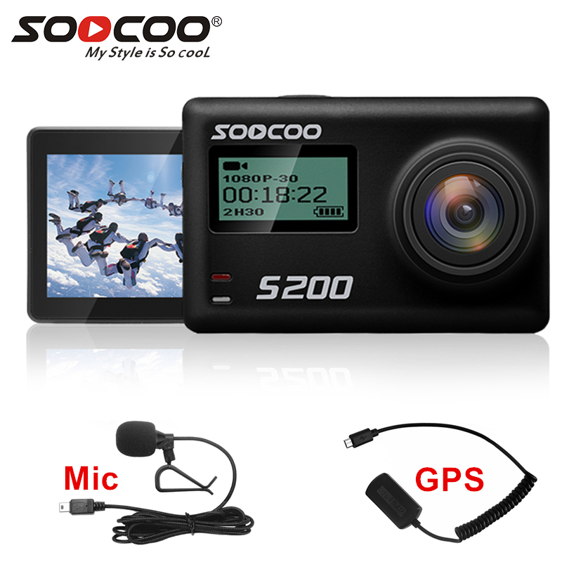 SOOCOO S200 action camera 4k camera sport with waterproof case external microphone mic GPS WiFi 2.45-inch Touch Screen Gyro image