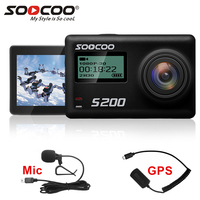 SOOCOO S200 action camera 4k camera sport with waterproof case external microphone mic GPS WiFi 2.45 inch Touch Screen Gyro