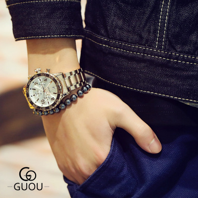 NEW Famous Brand GUOU Luxury Watch Men stainless steel Watches Men Military Sports Quartz Analog Wristwatches Relogio Masculino