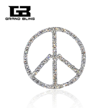 Hand-made Bling Rhinestone Peace Sign Brooches Jewelry