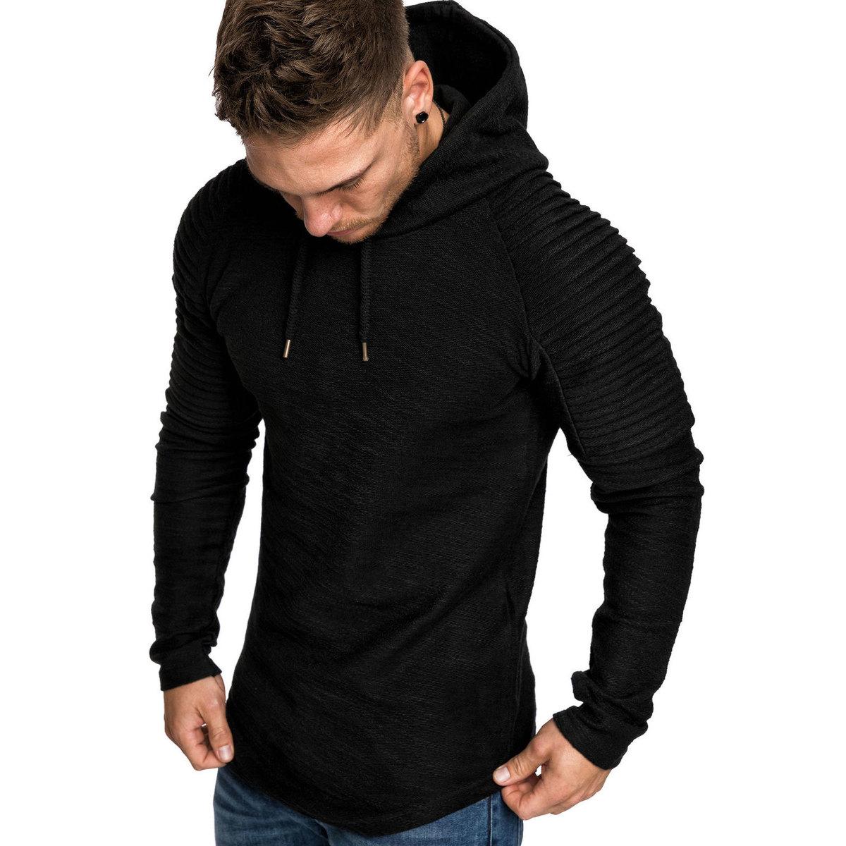 Moomphya Ragan sleeve hooded men t shirt Pleated sleeve t-shirt men Longline curved hem Hip hop slim tshirt streetwear tops 4