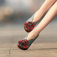 Tyawkiho Designer Women Blue Pumps Retro Lady 6CM High Heels Slip On Black Flower Pumps Handmade Women Genuine Leather Shoes