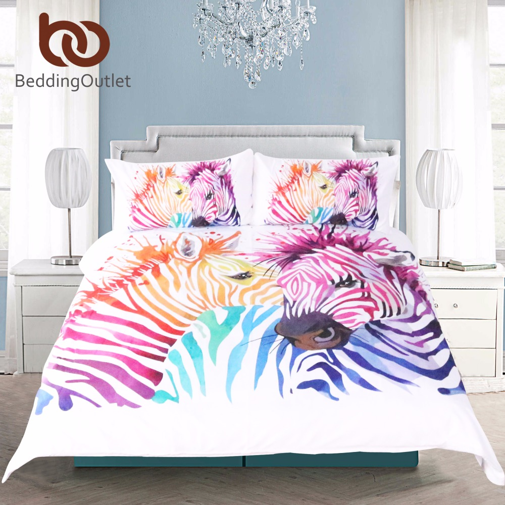 BeddingOutlet Animal Print Duvet Cover Rainbow Zebra