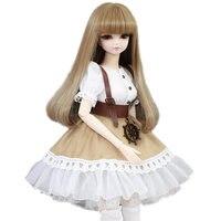 Интересные коричневые длинные волосы 45 см BJD куклы с американский стиль платье на день рождения Brinquedos Для девочек подвижные Новый средства