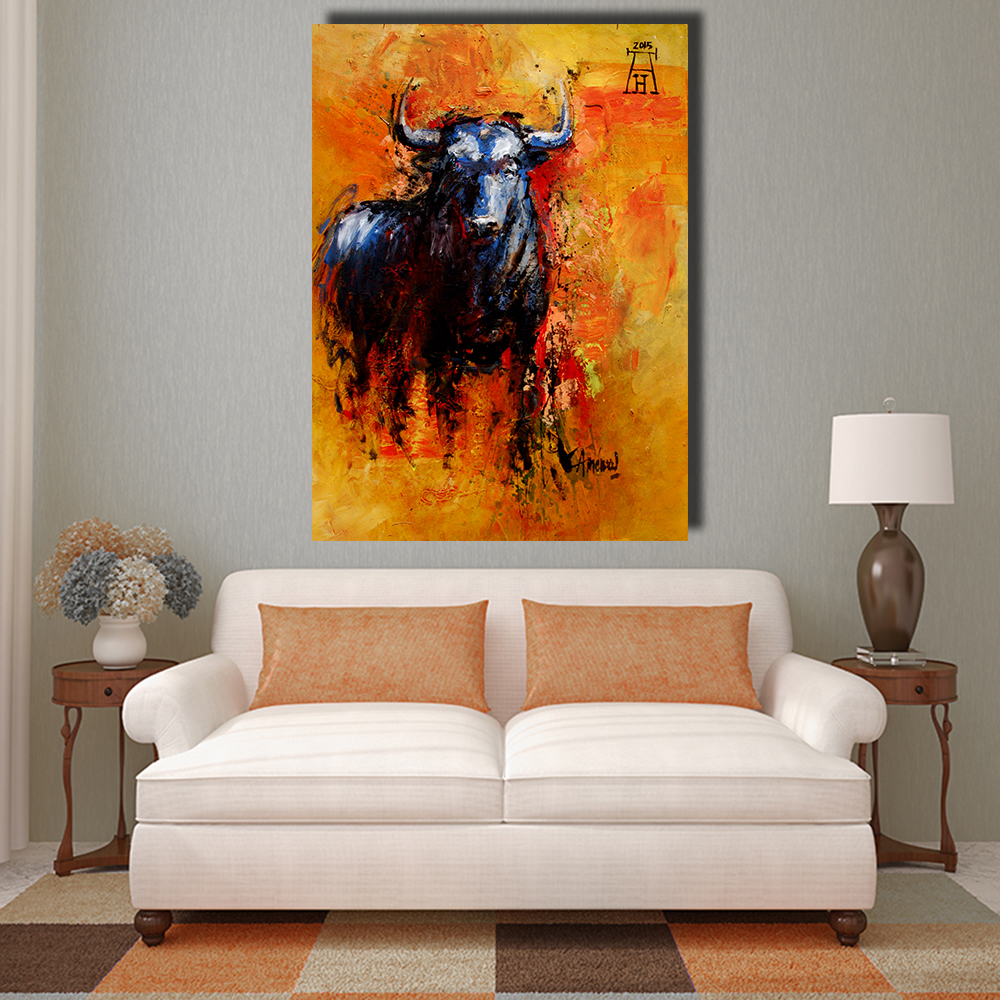 QKART Home Decor  Bull Animal Oil Painting on Canvas Wall Pictures for Living Room Wall Art Picture posters and prints