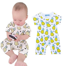 Retail Summer 2016 Baby Romper Cute Pineapple Printed Newborn Rompers Infant Clothing Fruit Pattern Boy Girl Clothes ropa bebe