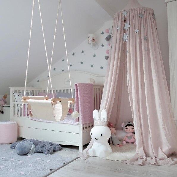 7 цветов, хлопок, для девочек и мальчиков, кровать, навес, для чтения, уголок, палатка, купол, москитная сетка, подвесное украшение, внутренний игровой домик для детей - Цвет: Khaki