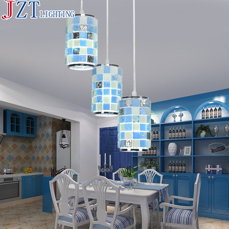 M Mediterranean Style Natural Shell Lamp Shade LED Dining Room 3 Head 2colors Modern Minimalist Crystal Dining Room Table Lamp