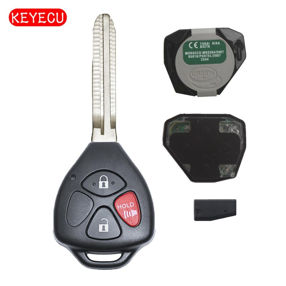 Clé à distance Keyecu 3 boutons 433MHz 4D67 puce FOB pour 2005-2008 Toyota Hilux FCC ID: MDL B42TA