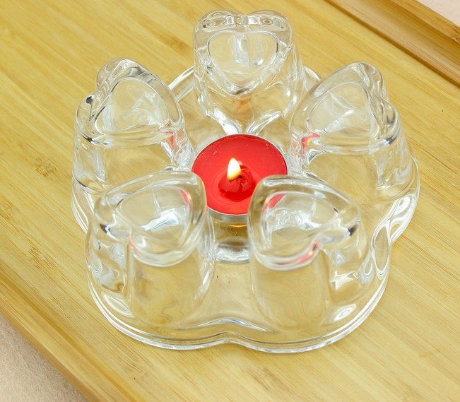 1PC Teapot Warmer Heart Heating Base Coffee Water Scented Tea Trivet Candle Clear Glass Heat-Resisting Insulation Base JQ 1076