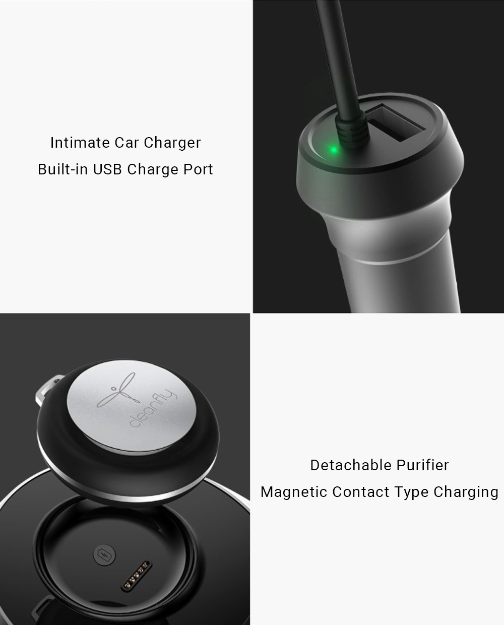 New original Xiaomi Mijia Cleanfly M1 Car Anion Air Purifier LED Display Mute Portable Purifier Support Parking Purification USB (9)