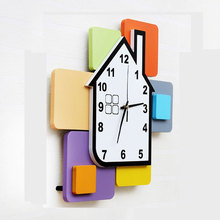 Sale Horloge Murale Reloj Large Fashion Wall Clock Children Bedroom Mute Color Blocks Supe Wooden Quartz Study Needle Circular