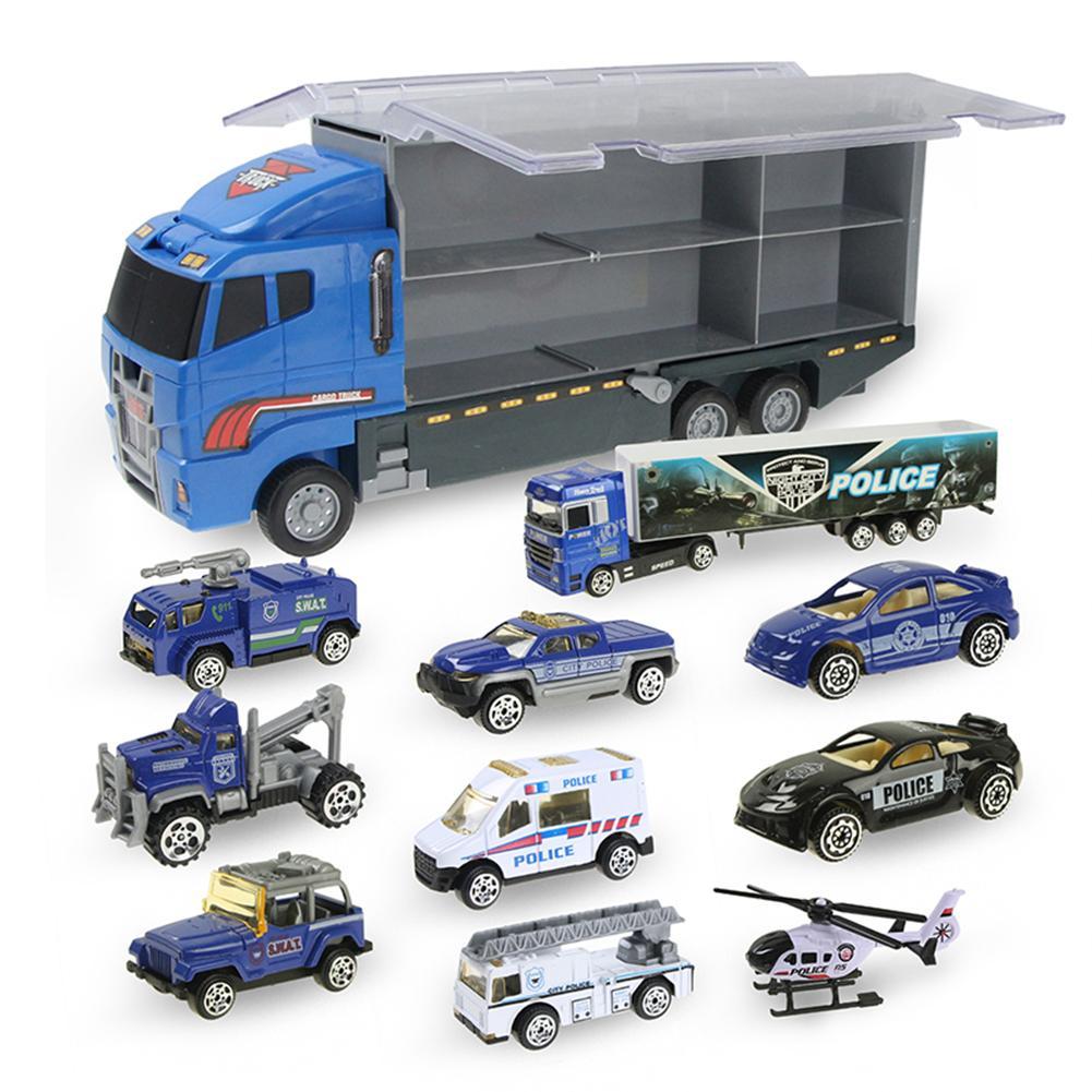 Camion de Transport de Police 10 en 1, Mini véhicule de jeu en plastique moulé sous pression dans un ensemble de jouets de voiture de transporteur, Mini voitures pour enfants garçon et Gi