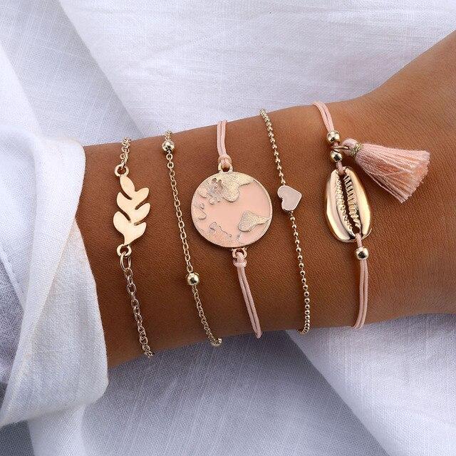 IPARAM femmes Vintage multicouche ensemble de bracelets bohème breloque coeur Lotus coquille Bracelet breloque géométrique cristal perlé mode