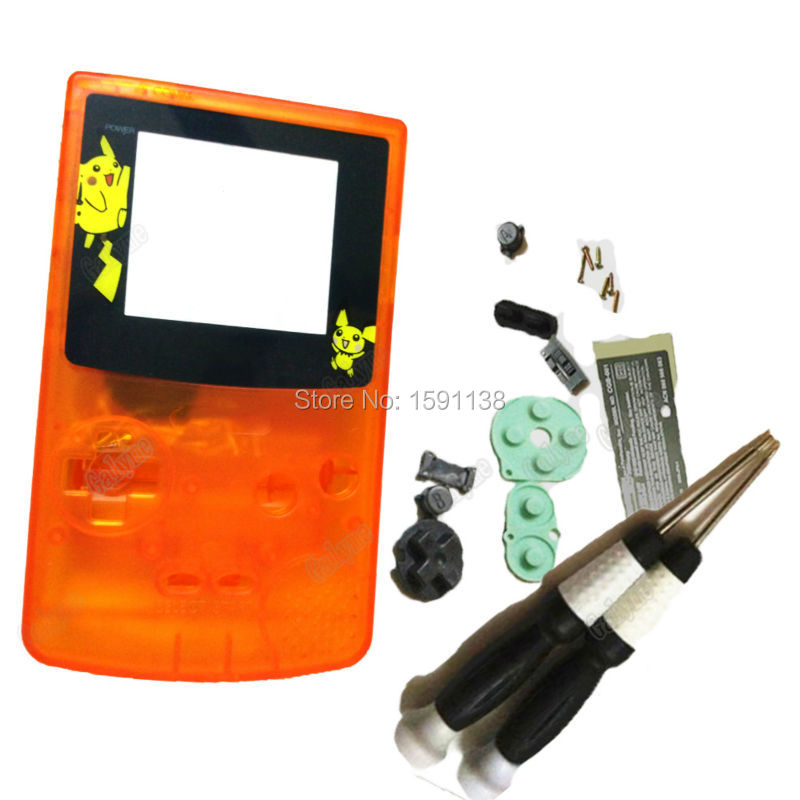 ZUCZUG Brand Clear Orange Color Housing For Game Console Boy Color Replace Shell Screen With Limited Logo Kid Gift W/Screwdriver