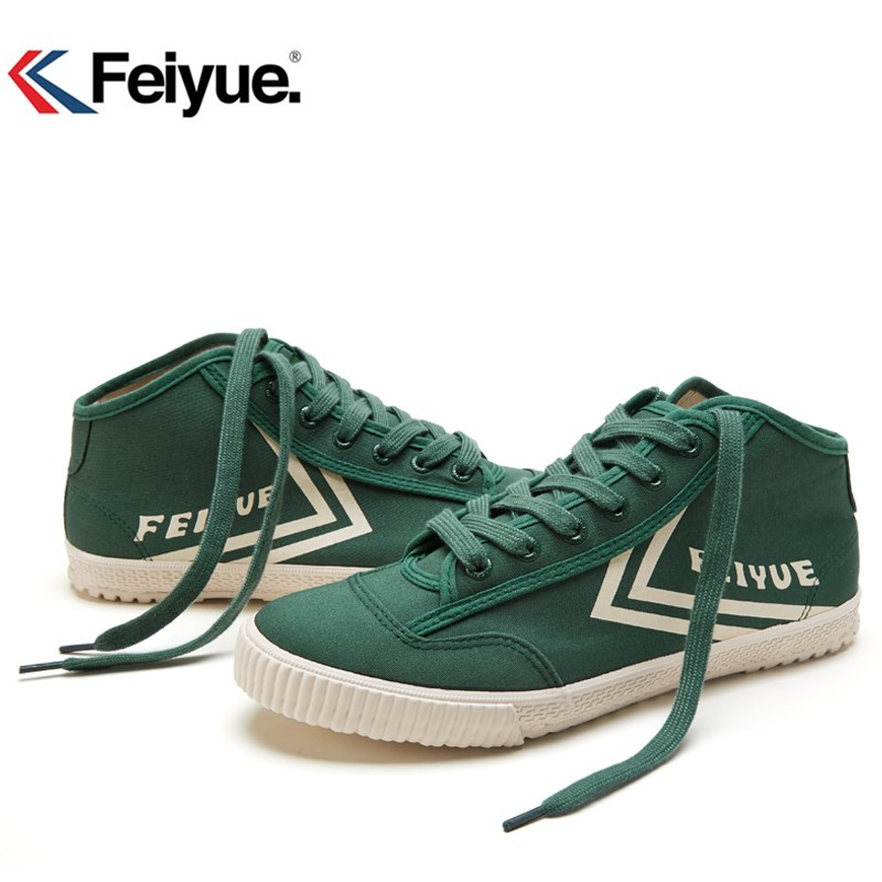 Feiyue Men Women Shoes Classics Knight Shoes Black Canvas Rubber Lace-Up Shoes Sneakers