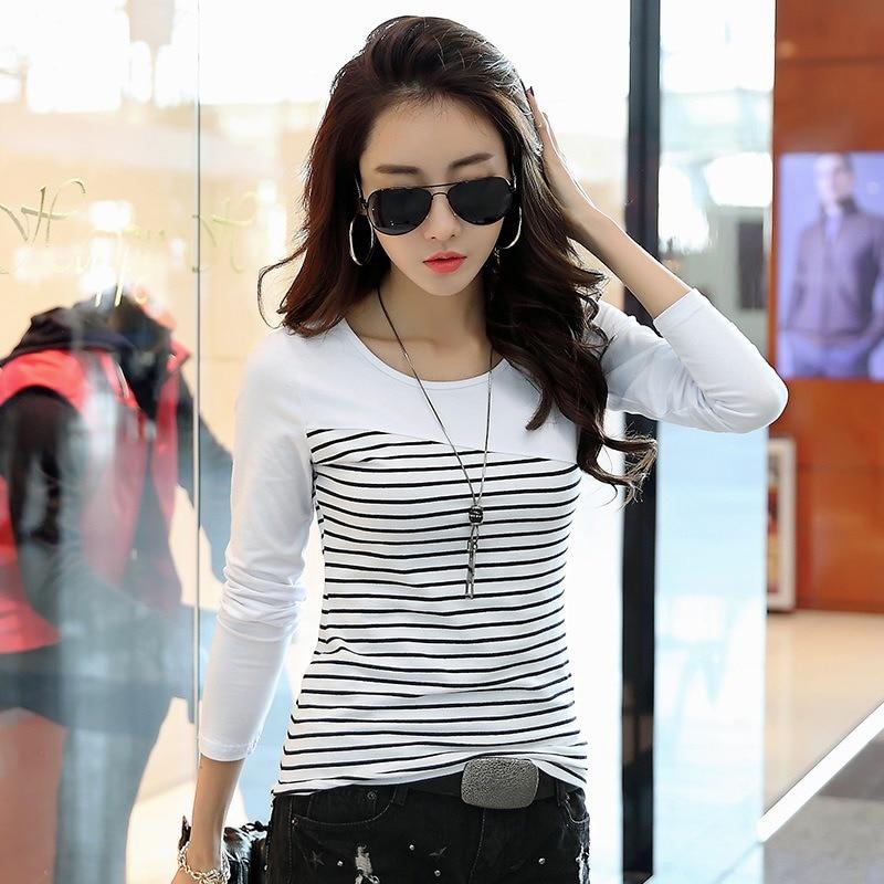 T Shirt Women Top Shirts Long Sleeve Casual Tshirt Striped Female O-neck T-Shirt Women's Tops Tee Shirt Femmel