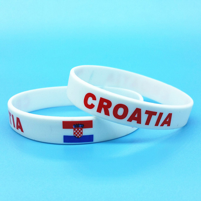 2pcs Croatia Flag Sport Silicone Bracelets Id Wrist Band Hologram Wristband Rubber Man Bangle Gift Souvenir