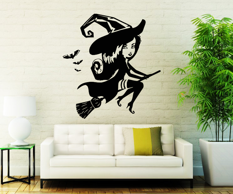 happy halloween cute wall stickers little witch vinyl wall mural decal home livingroom special decor wall poster decals wm 012 - Halloween Wall Mural