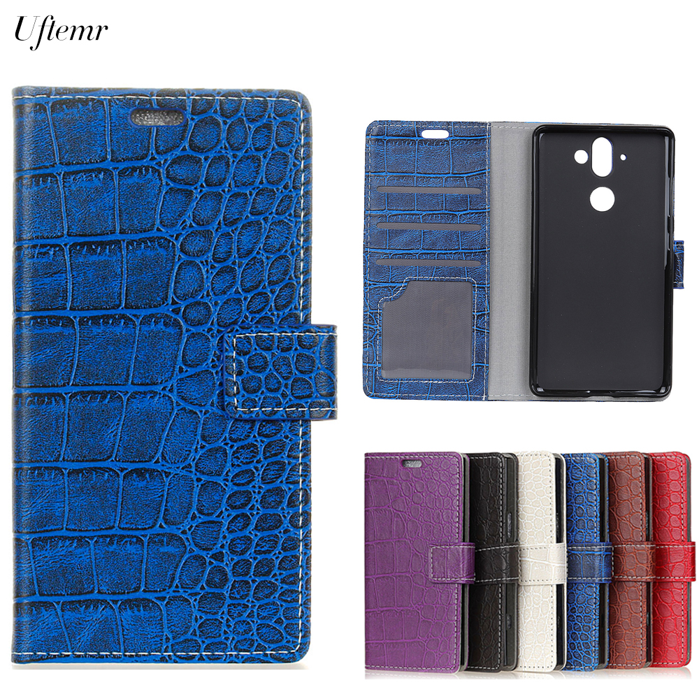 Uftemr Vintage Crocodile PU Leather Cover For Nokia 9 Protective Silicone Case For Nokia 9 Wallet Card Slot Phone Acessories