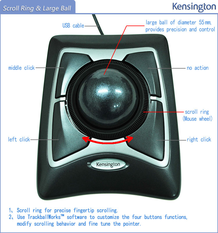 Kensington Original Trackball Expert Mouse Optical USB for PC or Laptop(Large Ball Scroll Ring) with Retail Packaging
