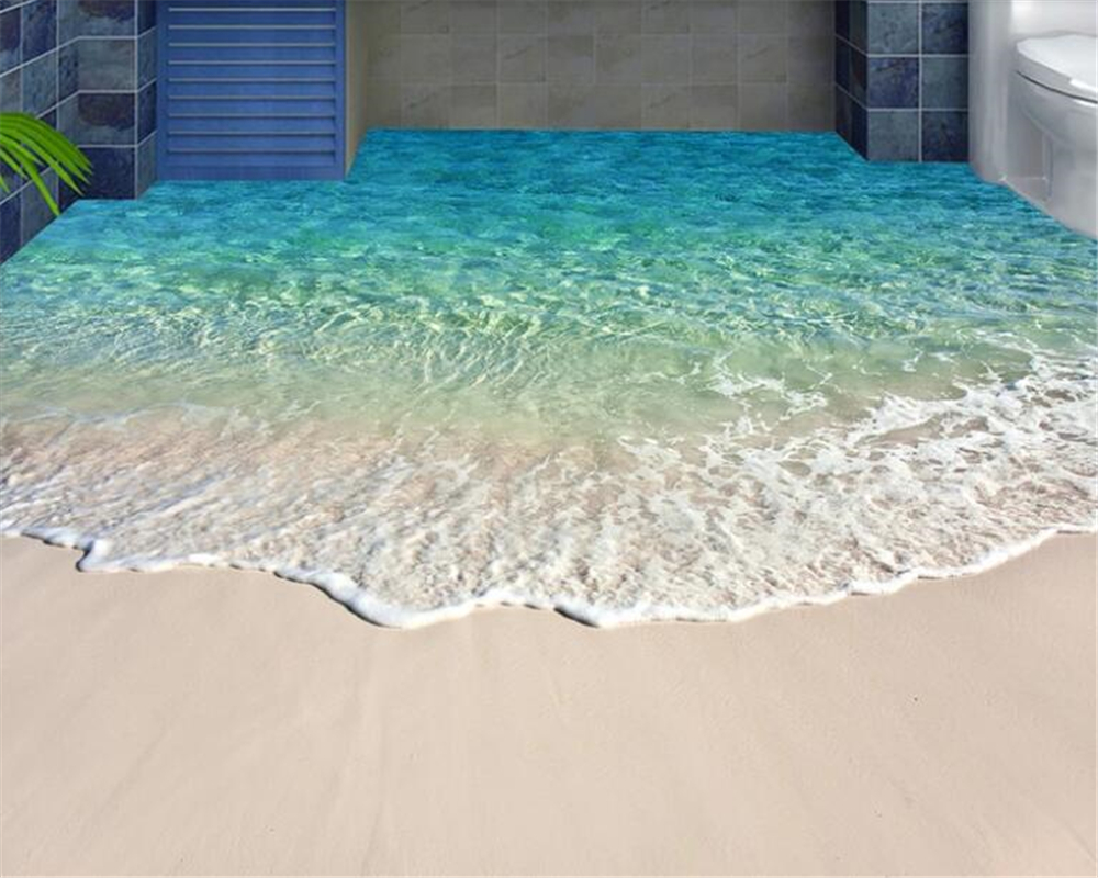 beibehang Beach Shell Sea Star Living Room Bathroom Floor Painted Wall Sticker PVC Picture Waterproof Self-adhesive Wallpaper 3D beibehang home bathroom bedroom floor self adhesive wallpaper beach beach waves surfing 3d floor tiles painting 3d flooring