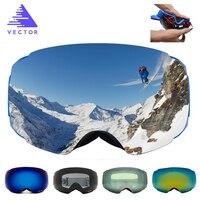 VECTOR Brand Ski Goggles Double UV400 Anti Fog New Big Ski Mask Glasses Skiing Professional Men