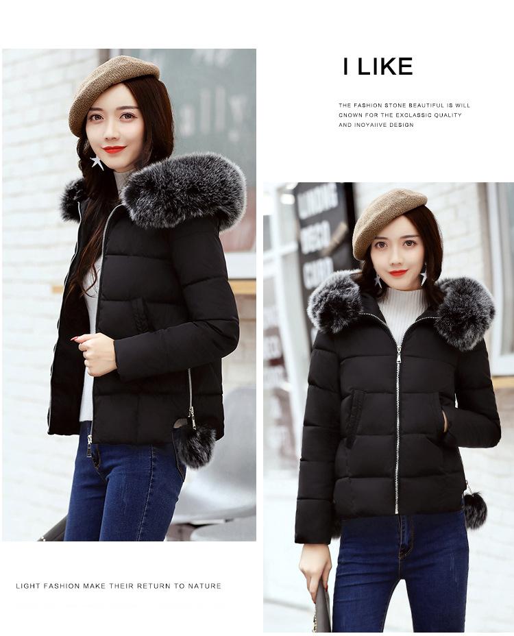 Short Women Basic Jackets Streetwear Warm Casual Coats Female Parka Cotton Hooded Winter Women Jacket Coat Outwear 19 DR114 6