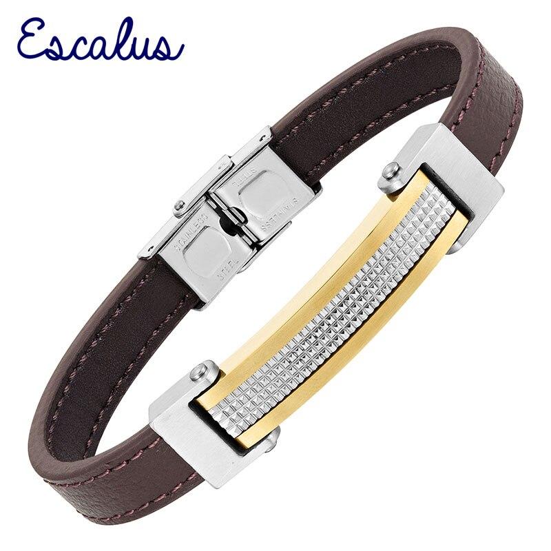 Escalus Brown Genuine Leather Gold Silver Women Bracelet Sta