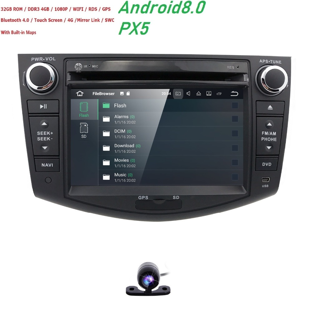 2006-2012 1024*600 HD Screen 2Din Android 8.0 8OctaCore 4+32 Car DVD for Toyota RAV4 Audio Video Stereo GPS Radio RDS 3G 4G Wifi