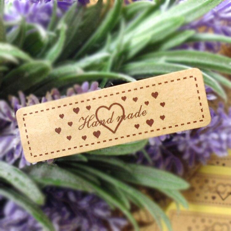 120Pcs Hand Made Heart Rectangle Handmade Cake Packaging Sealing Label Kraft Sticker Baking DIY Work Gift Box Stickers M1220