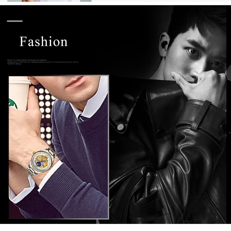 KINYUED Fashion Mens Mechanical Watch Brand Automatic Waterproof Skeleton Watches Men Gold Moon Phase Diamond reloj hombre 2019 5
