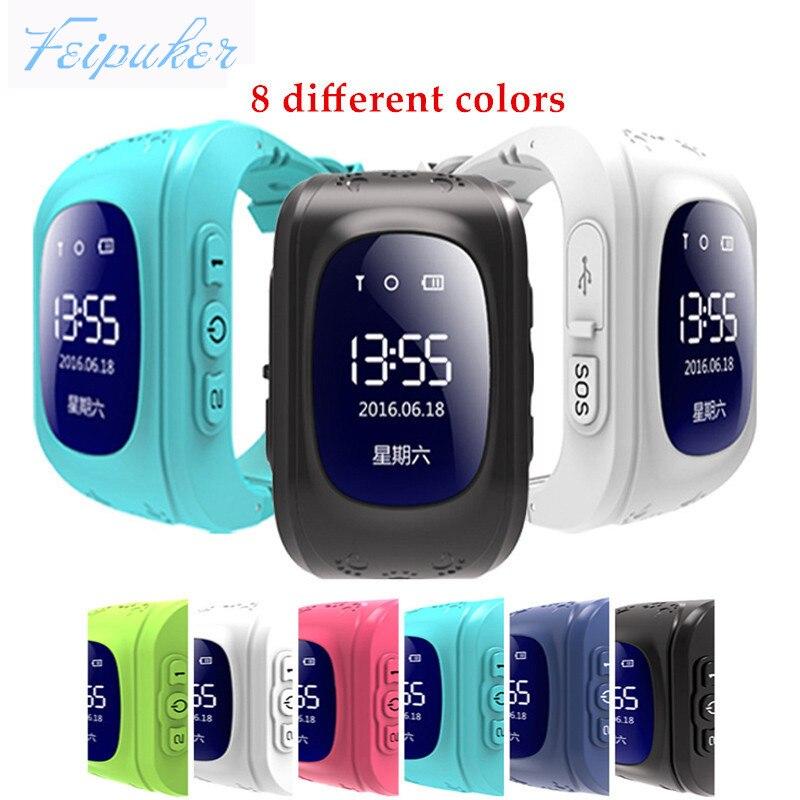 imágenes para 8 colores Q50 para Niños SOS GPS Tracker Reloj OLED de emergencia Anti Perdido GSM Móvil Setracker APP para Android iOS