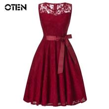 цена OTEN trending products 2018 New Summer Women O Neck Sleeveless Lace Party Vintage Pin up Elegant Knee Length Skater tunic dress в интернет-магазинах