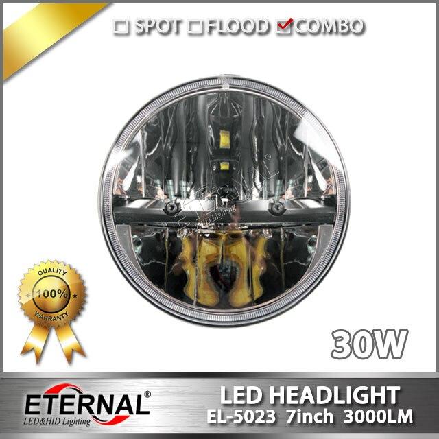 ФОТО 4pcs 7in headlight 30W led headlamp PAR56 for Wrangler JK TJ LJ headlight replacement bulb dual beam with H4 plug