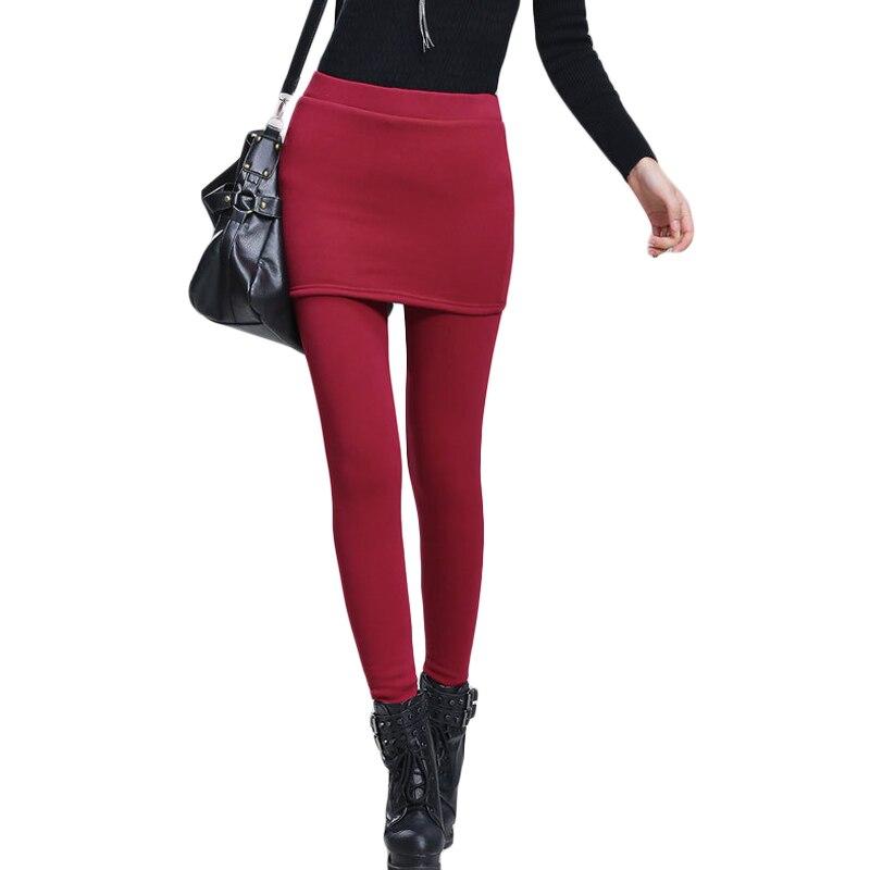 High Quality 2019 Women Black Winter Leggings Ladies Add Fleece Warm Skinny Pants Plus Size S-4XL Skirt + Long Trousers CM1829