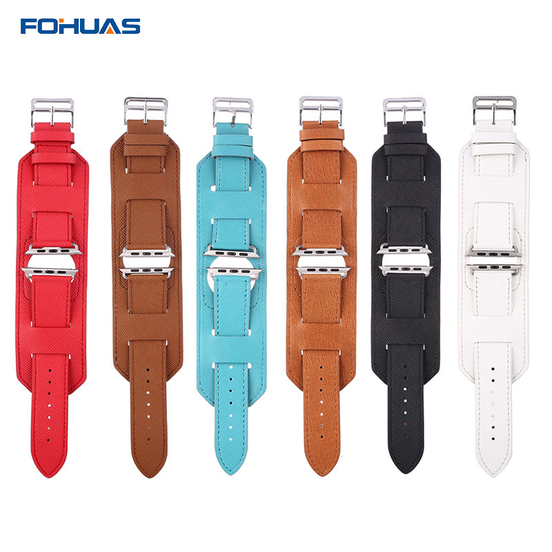 FOHUAS high quality Cross Grain Genuine link Bracelet Loop For Apple Watch band leather strap cuff 38mm 42mm  In Stock