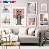 White Mosque Morocco Door Stone Pillar Wall Art Canvas Painting Nordic Posters And Prints Wall Pictures For Living Room Decor