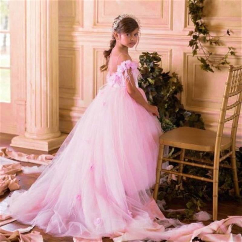 Vintage   Flower     Girl     Dresses   White Satin Pink Puffy Toddler Ball Gown Communion   Girl   Frock Design Abiti Da Comunione Vestido
