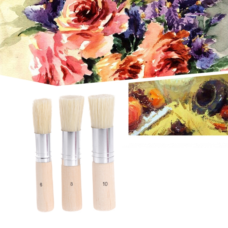 3PCS Stencil Brush Hog Bristle Brushes Wooden Handle Art Crafts Stenciling Painting Tool Oil Painting Supplies Paint Brushes