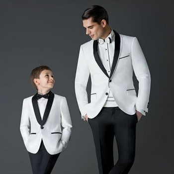2017 New men suit Groom Tuxedos white Men's Wedding Dress Prom mens suits Father and Boy Tuxedos (Jacket+pants+Bow) Custom Made