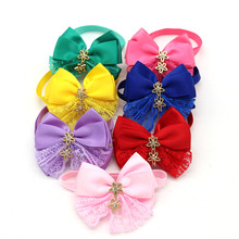 New 50pcs Pet Dog Cat Bow Tie Lace Rhinestone Diamond Pet Dog Bowties Neckties Dog Holiday