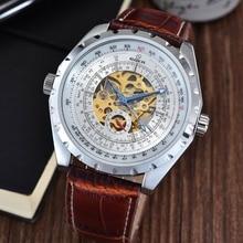 GOER марка мужская цифровой механические часы Световой Скелет Мужчины наручные часы Полностью автоматическая кожа Спорта водонепроницаемый